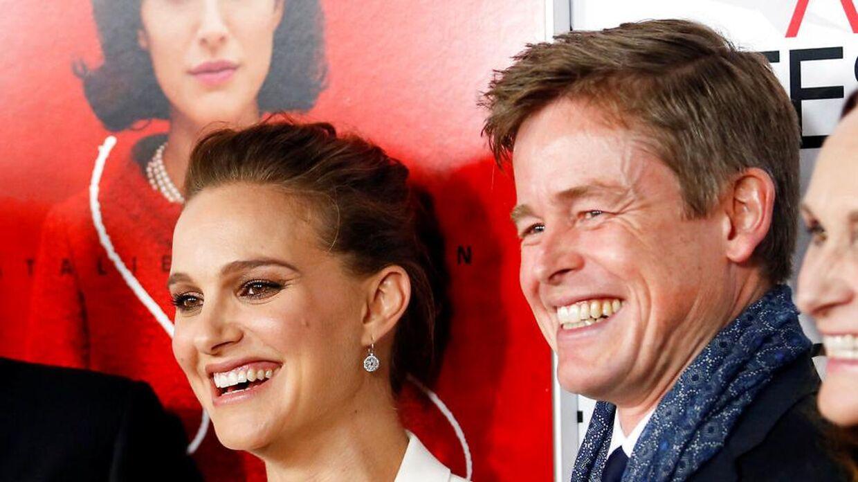Caspar Phillipson sammen med skuespillerinden Natalie Portman til premiere på filmen'Jackie'.
