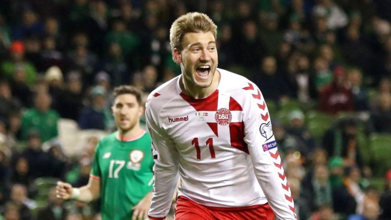 Nicklas Bendtner jubler over sin scoring for landsholdet mod Irland i efteråret 2017, men mon ikke han også jubler over privatlivet lige for tiden?