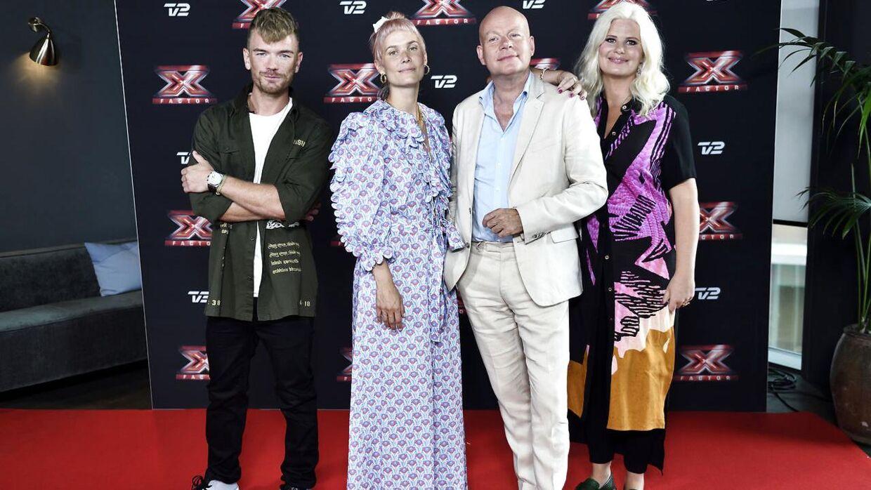 Her er dommerne Lars Ankerstjerne Christensen Nanna Øland Fabricuis og Thomas Blachman sammen med værten Sofie Linde, onsdag den 8. august 2018.