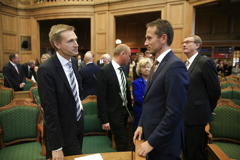 Kristian Thulesen Dahl og Kristian Jensen kommer tættere og tættere på hinanden politisk. (Foto: Thomas Lekfeldt/Scanpix 2014)