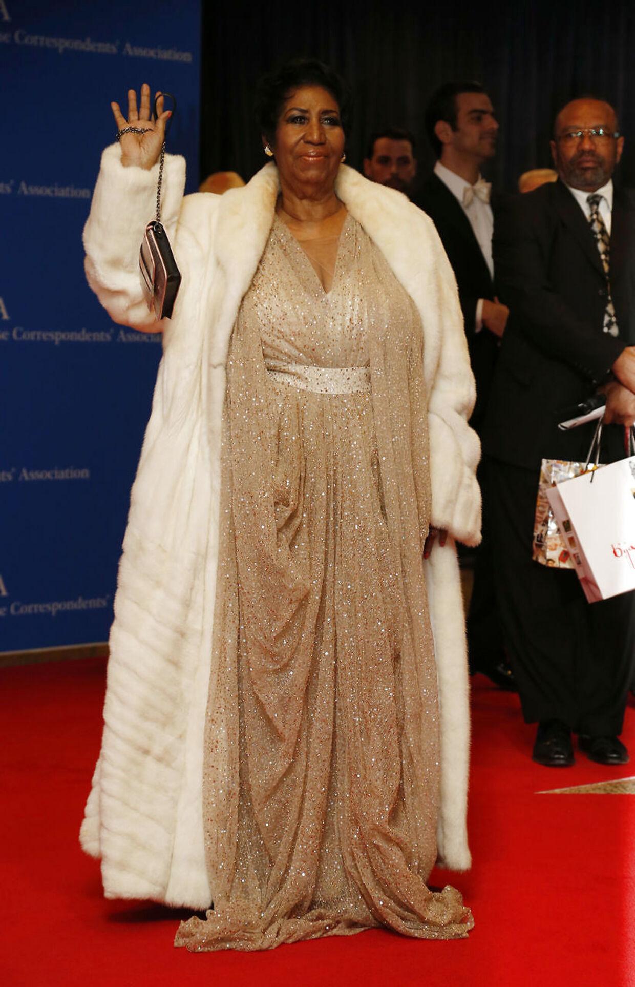 Her deltager Aretha Franklin i en middag i Det Hvide Hus i 2016, som tidligere præsident i USA Barack Obama havde inviteret til.