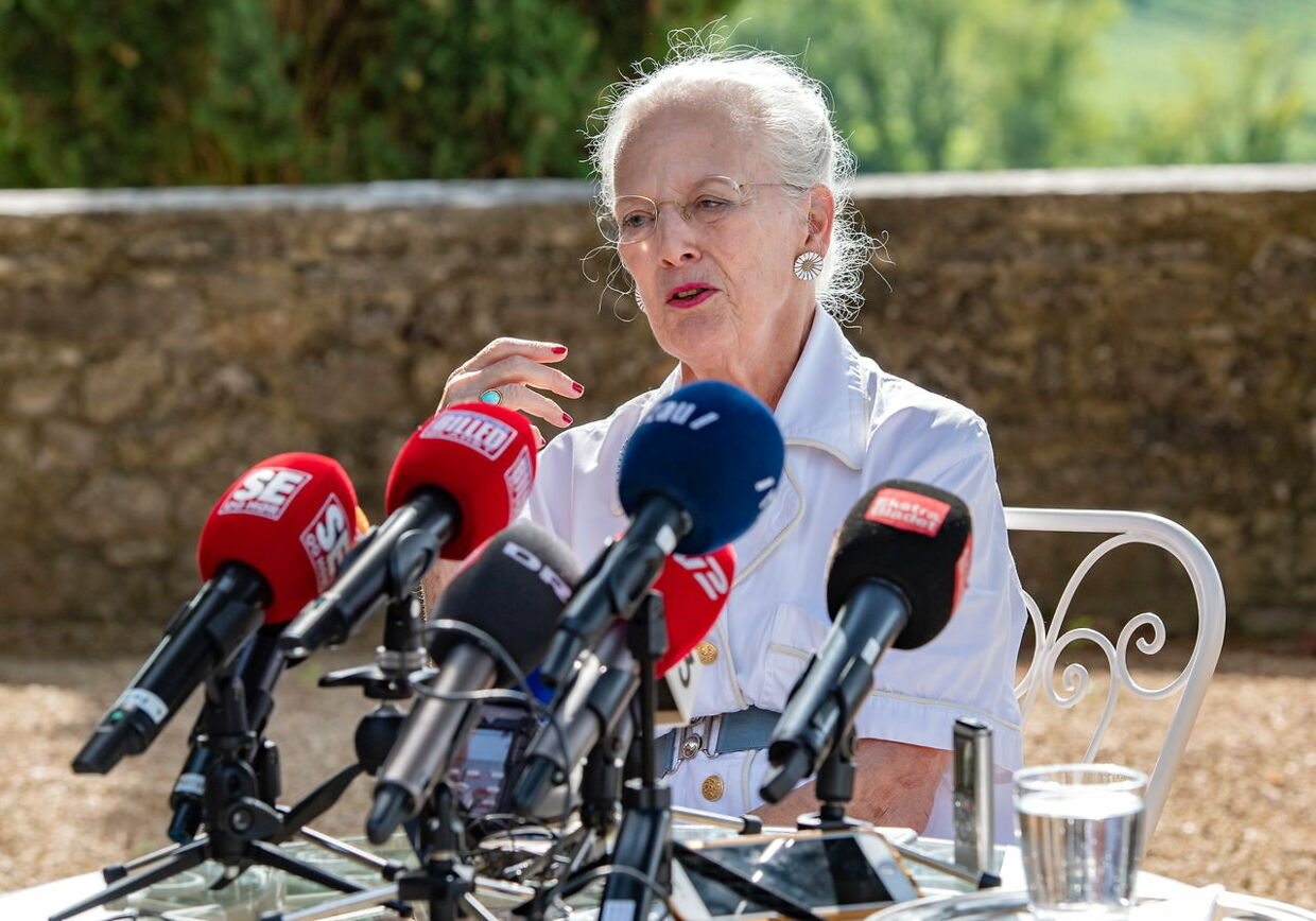 epa06952439 Queen Margrethe II of Denmark attends a press conference and photocall at Chateau de Cayx, near Cahors, France, 16 August 2018. Cayx Palace is a residence of the Danish Royal Family where the Danish monarch is residing for a few weeks in August. EPA/CAROLINE BLUMBERG