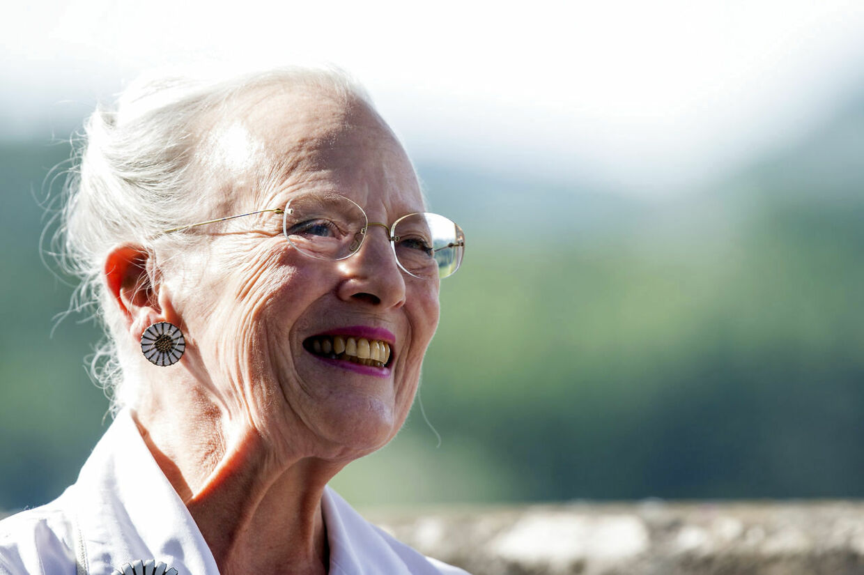 "Denmark's Queen Margrethe smiles during a press conference at her Chateau de Caix residence near Cahors, southwestern France, Thursday, Aug.16, 2018. In her first public comments since Henrik died Feb. 13 at age 83, Margrethe says ""it's healthy to be busy, "" adding ""things go pretty well."" (AP Photo/Fred Lancelot)"