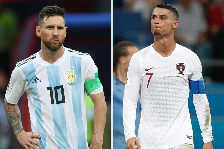 Danske tv-seere kunne under sommerens VM-slutrunde se både argentineren Lionel Messi (til venstre) og portugiseren Cristiano Ronaldo (til højre) spille fodbold. Men når Ronaldo og Messi i denne weekend skal spille klubkampe i henholdsvis Spanien og Italien, så kan de ikke ses på normalt flow-tv. Roman Kruchinin, Adrian Dennis/arkiv/Ritzau Scanpix
