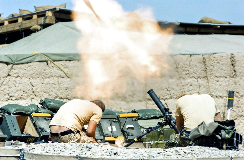 Mortérskytterne i aktion. (PRIVATFOTO)
