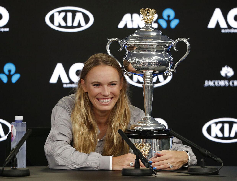 Caroline Wozniacki på pressemødet efter sin finalesejr ved Australian Open tidligere på året.