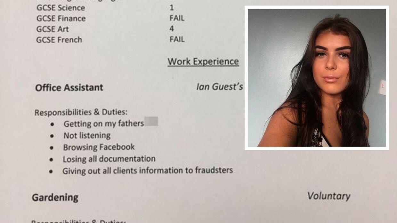 Lauren Moores uheldige CV. (Twitter)