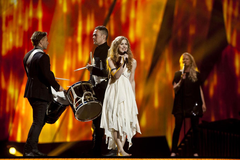 Emmelie de Forest i bare tæer da hun i 2013 vandt Eurovision i Malmø.