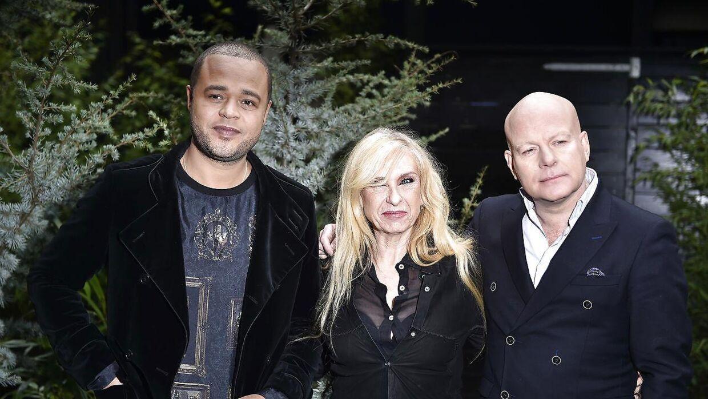 Sanne Salomonsen med sine tidligere dommerkolleager i 'X Factor' Remee og Thomas Blachman.