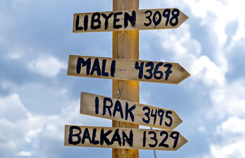 Skilte til krigens områder.