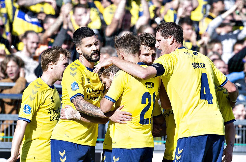 Brøndbys Kamil Wilczek har scoret til 1-0 i Superliga-kampen Vendsyssel FF mod Brøndby IF på Nord Energi Arena i Hjørring, 26. august 2018.