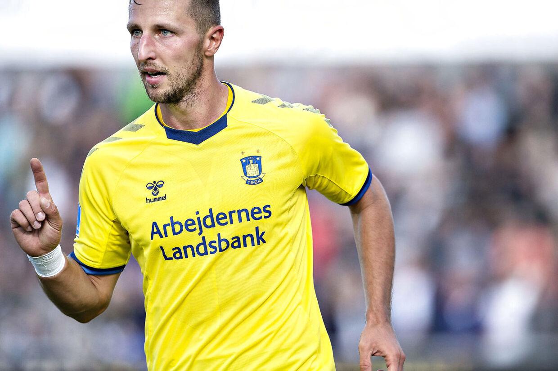 Brøndbys Kamil Wilczek har scoret til 2-0 i superliga-kampen Vendsyssel FF mod Brøndby IF på Nord Energi Arena i Hjørring 26. august 2018. (Foto: Henning Bagger/Ritzau Scanpix)