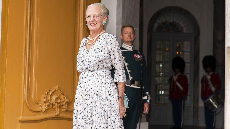 Dronning Margrethe modtager den franske præsident, Emmanuel Macron, og den franske præsidenthustru, Brigitte Macron, på Amalienborg i forbindelse med, at den franske præsident er på officielt statsbesøg i København, tirsdag den 28. august 2018. (foto: Martin Sylvest/Scanpix Ritzau 2018)