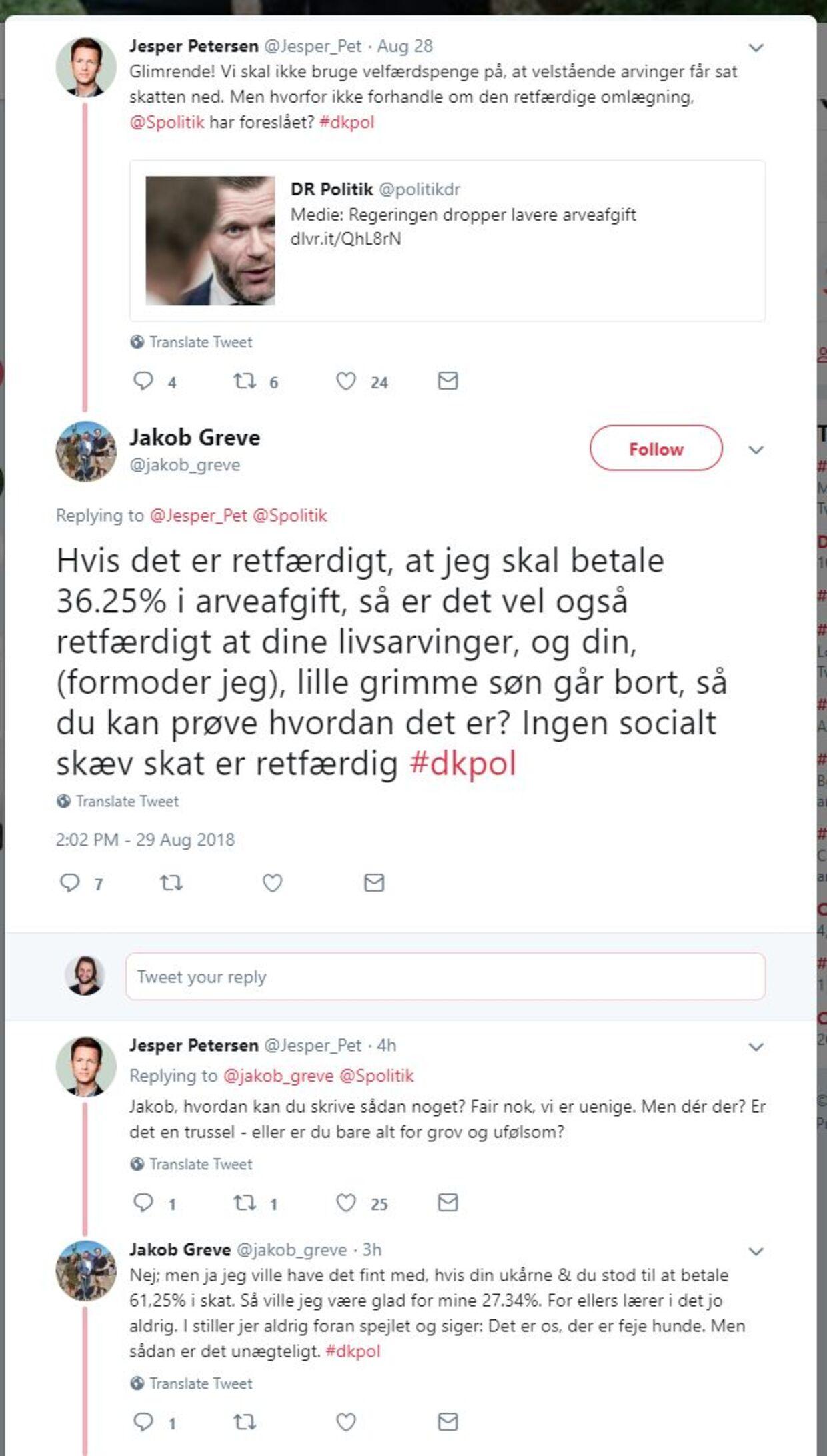 Jesper Petersens opslag på Twitter og Jakob Greves svar.