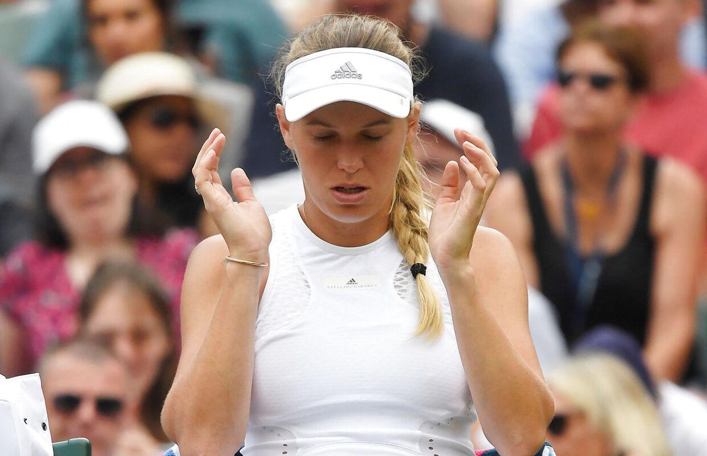 Caroline Wozniacki led i sommerens Wimbledon-turnering et skuffende nederlag til Ekaterina Makarova.