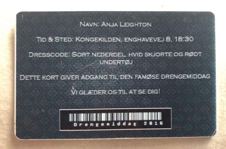 Anja Leighton fik dette VIP-kort forud for 2016-versionen af Rungsted Gymnasiums 'drengemiddag'.