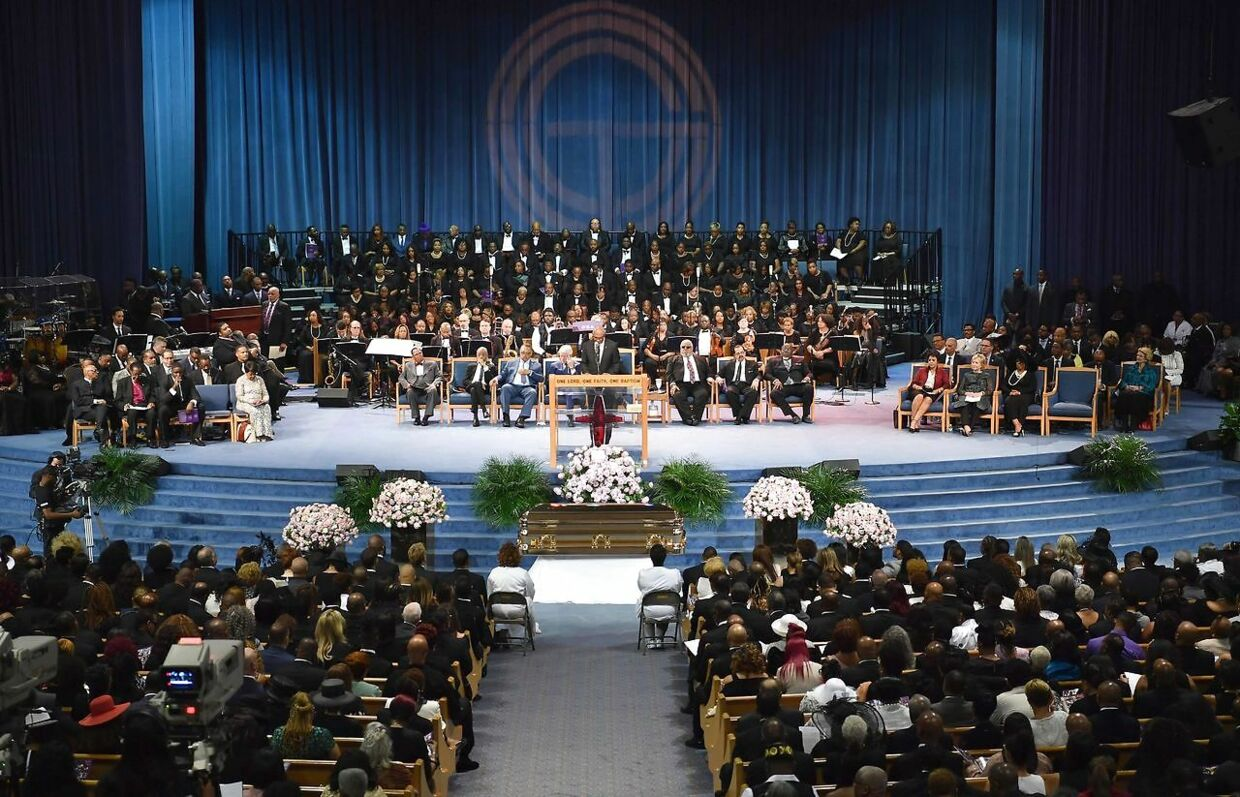 Mourners attend Aretha Franklin's funeral at Greater Grace Temple on August 31, 2018 in Detroit, Michigan. (Photo by Angela Weiss / AFP)