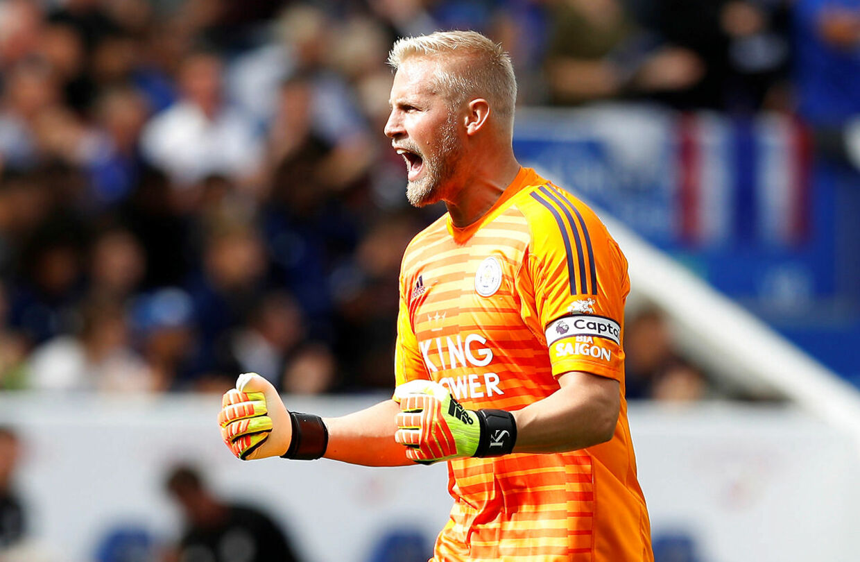 "Soccer Football - Premier League - Leicester City v Wolverhampton Wanderers - King Power Stadium, Leicester, Britain - August 18, 2018 Leicester City's Kasper Schmeichel celebrates after Wolverhampton Wanderers' Matt Doherty scores an own goal REUTERS/Darren Staples EDITORIAL USE ONLY.No use with unauthorized audio, video, data, fixture lists, club/league logos or ""live"" services. Online in-match use limited to 75 images, no video emulation.No use in betting, games or single club/league/player publications. Please contact your account representative for further details."