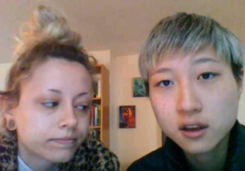 Jackie Chans datter Etta Ng, til højre. Til venstre ses kæresten Audi.