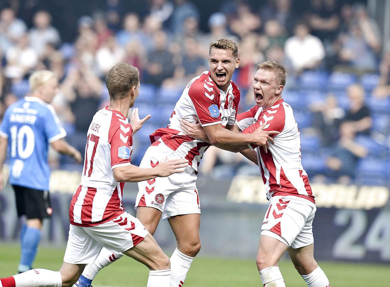 AaB's jubel ved 0-1 ved Rasmus Thellufsen under superliga-kampen Randers FC – AaB på BioNutria Park i Randers søndag 2. september 2018. (Foto: NORDE ERNST VAN/Scanpix 2018)