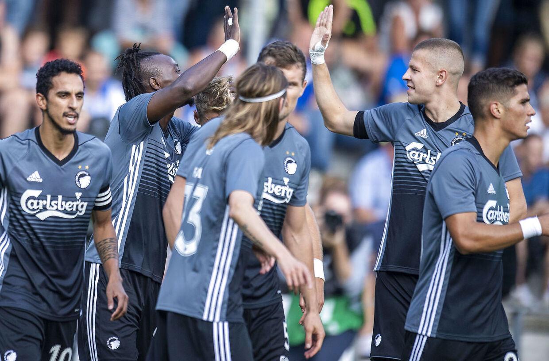Der jubles efter scoringen til 0-1. Esbjerg møder FC København i Superligaen på Blue Water Arena i Esbjerg, søndag den 2. september 2018.. (Foto: John Randeris/Ritzau Scanpix)
