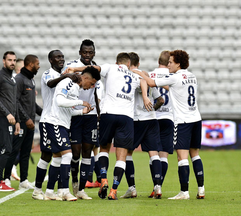 AGF's jubel ved 1-1. Superligakampen AGF-Vendsyssel FF på Ceres Park i Aarhus, søndag den 2. september 2018.. (Foto: NORDE ERNST VAN/Ritzau Scanpix)