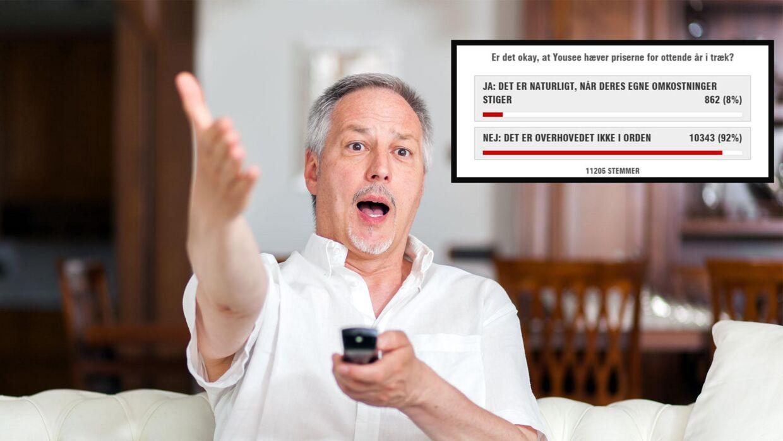 Priserne for at se TV gennem YouSee er steget for 8. år i træk. Det er B.T.s læsere ikke tilfredse med. (Modelfoto/Scanpix)