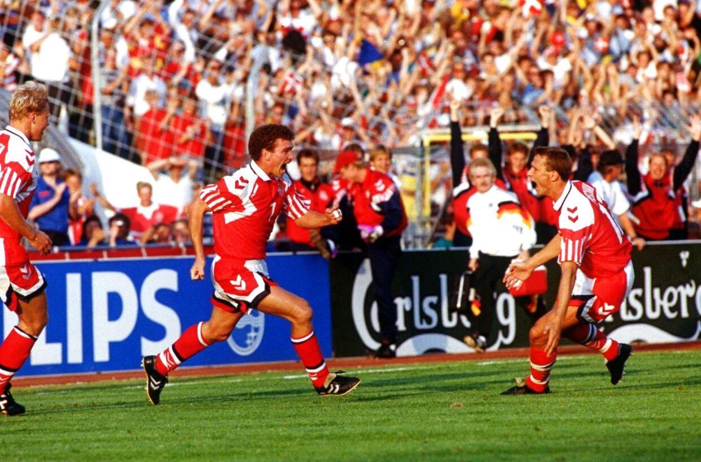 Henrik Larsen og John 'Faxe' Jensen var blandt de bærende på EM-holdet i 1992. (Arkivfoto)
