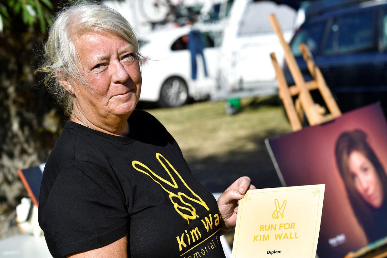 "Ingrid Wall, Kim Wall's mor fotograferet på årsdagen for hendes datters død i forbindelse med ""Run for Kim"" i Trelleborg 10. august 2018."