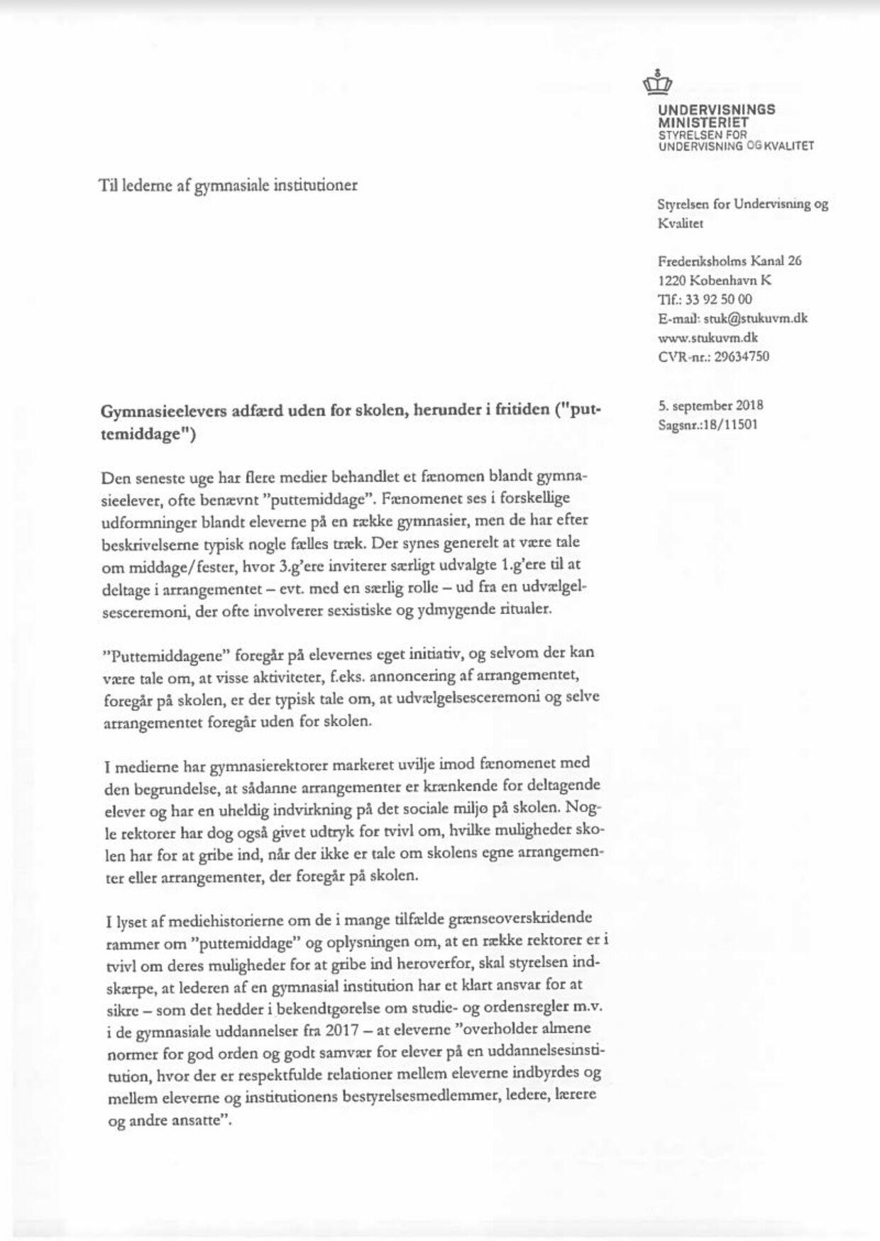 Her er det brev, som nu er blevet sendt ud til lederne fra de danske gymnasier.