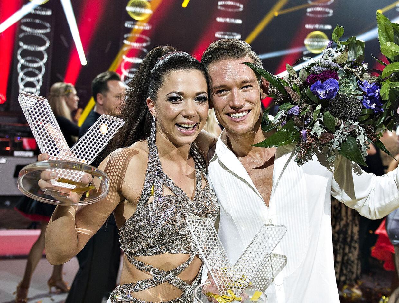 Sarah Mahfoud og dansepartneren Morten Kjeldgaard vandt Vild med dans 2016. Senere debuterede hun som professionel hos Mogens Palle, hvor hun pt. er ubesejret i 5 kampe. (foto: Henning Bagger / Scanpix 2016)