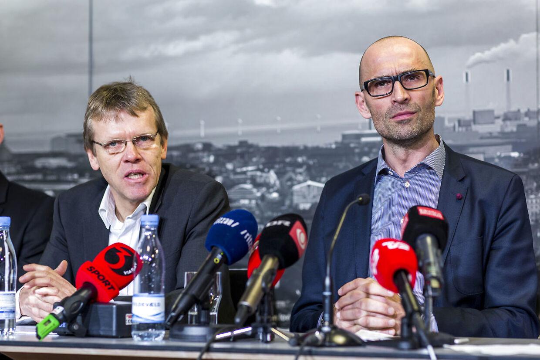 Mads Øland og Claus Bretton-Meyer fortæller her om den nye aftale ved et pressemøde i Parken, lørdag, d. 21 marts 2015.