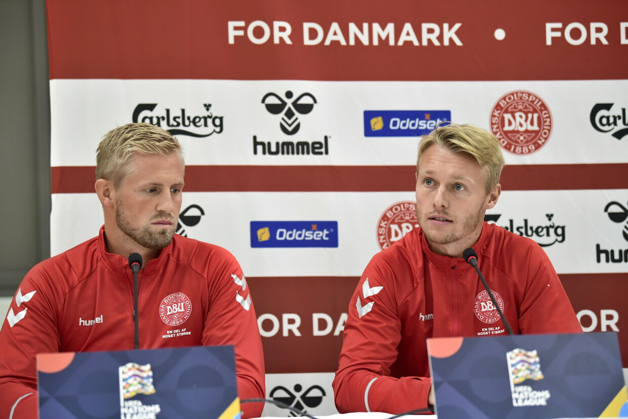 Denmarks players Kasper Schmeichel, left, and Simon Kjaer during a press conference prior to the Nations League match between Denmark at Wales, Saturday Sep. 8. 2018 at Ceres Park Stadium in Aarhus, Denmark (Photo: Bo Amstrup / Scanpix 2018)