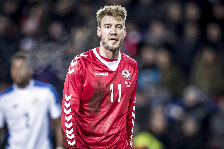 Danmarks Nicklas Bendtner (11) under venskabskampen mellem Danmark og Panama på Brøndby Stadion, torsdag den 22. marts 2018. Danmark vinder 1-0 over Panama.. (Foto: Mads Claus Rasmussen/Scanpix 2018)