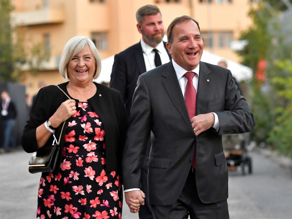 Swedish Prime Minister Stefan Lofven and his wife Ulla Lofven arrive at the Social Democratic Party's election wake in Stockholm, Sweden September 9, 2018. TT News Agency/Jonas Ekstromer/via REUTERS ATTENTION EDITORS - THIS IMAGE WAS PROVIDED BY A THIRD PARTY. SWEDEN OUT.NO COMMERCIAL OR EDITORIAL SALES IN SWEDEN.