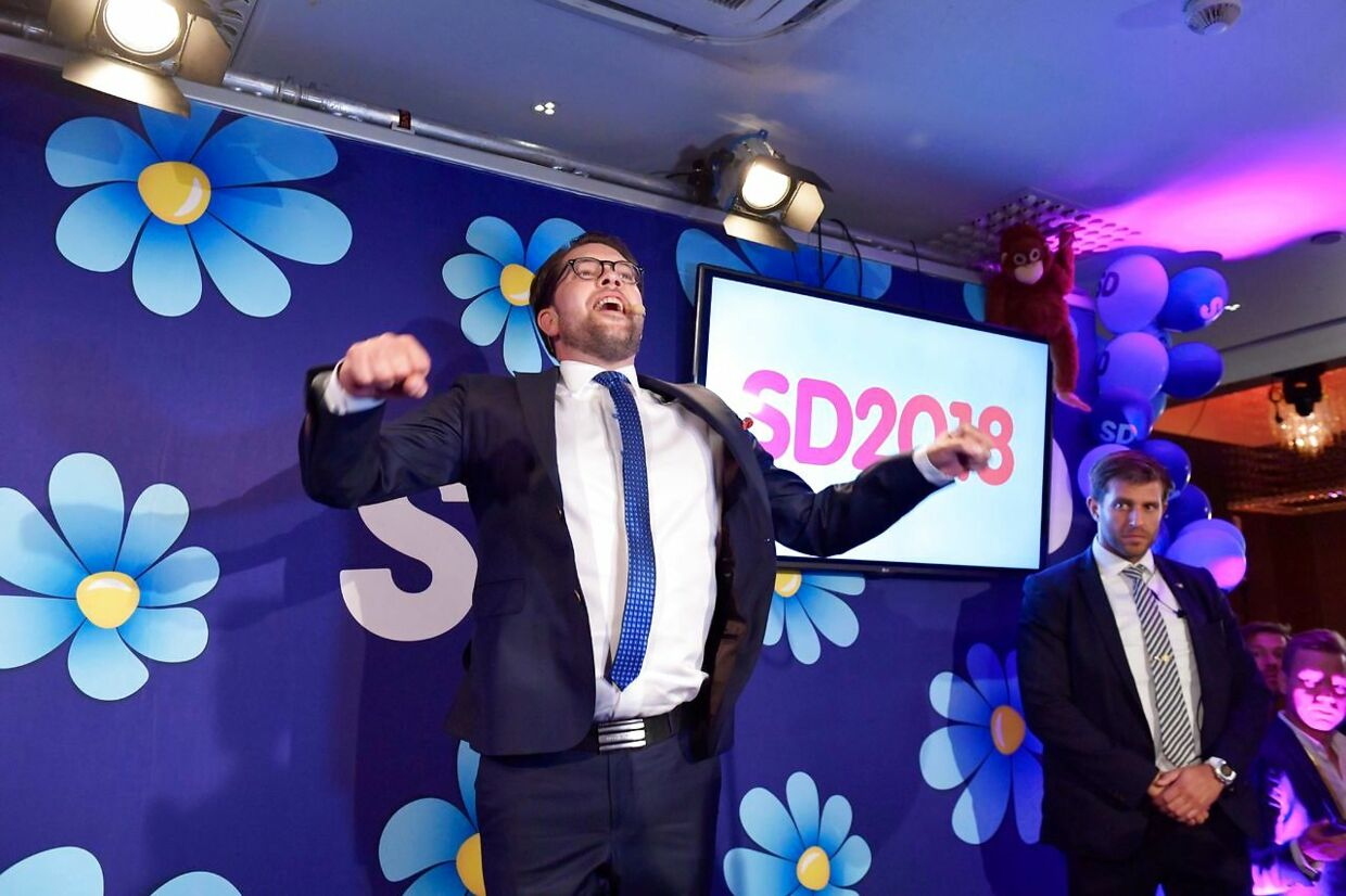 TOPSHOT - Jimmie Akesson of the Sweden Democrats speaks at the election party at the Kristallen restaurant in central Stockholm on September 9, 2018. - Sweden's Social Democrats are tipped to be the country's biggest party after Sunday's election on September 9, 2018, with the far-right Sweden Democrats trailing in third place, a TV4 exit poll predicted shortly before polling stations closed. (Photo by Anders WIKLUND / TT NEWS AGENCY / AFP) / Sweden OUT