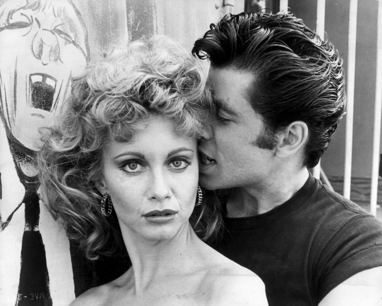 Olivia Newton John og John Travolta under indspilningerne til Grease.