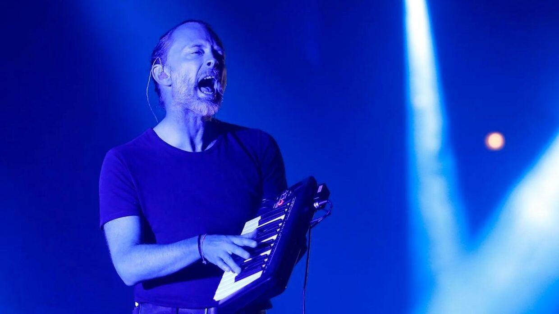 Thom Yorke fra det britiske band Radiohead under en optræden.