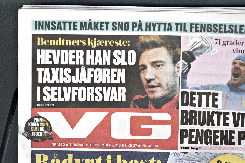 Sagen om Nicklas Bendtners voldssag mod en taxichauffør natten til søndag i København fortsætter med at udvikle sig. Norske aviser omtaler Nicklas Bendtner. Trondheim, tirsdag den 11. september 2018.