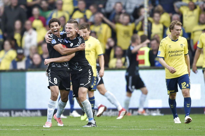 Sønderjyskes Mart Lieder har scoret til 2-3. Superligakamp mellem Brøndby IF og Sønderjyske på Brøndby Stadion søndag den 16. september 2018. (Foto: Liselotte Sabroe/Scanpix 2018)