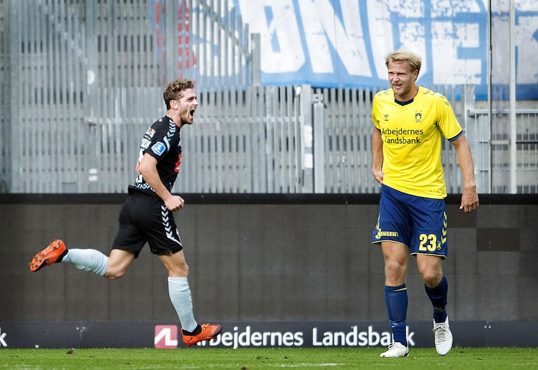 Sønderjyskes Johan Absalonsen til 2-2 i Superligakampen mellem Brøndby og SønderjyskE på Brøndby Stadion søndag den 16. september 2018. (Foto: Liselotte Sabroe/Ritzau Scanpix)