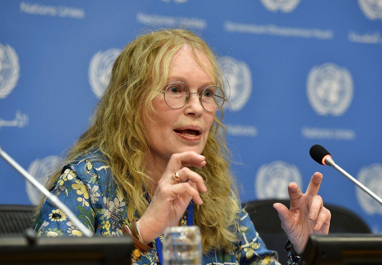 Mia Farrow, Woody Allens ekskone, har beskyldt ham for at have misbrugt sin datter Dylan Farrow. AFP PHOTO/Stan HONDA. STAN HONDA / AFP