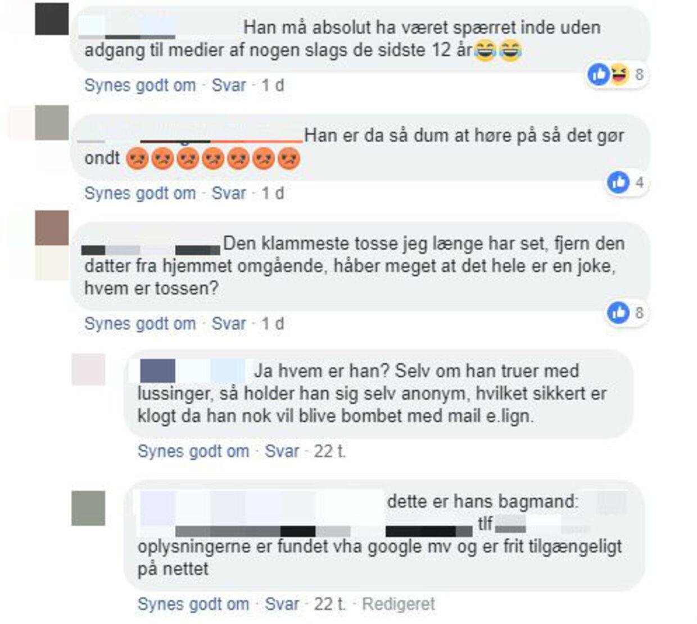 I hadgrupperne har folk fundet personlige oplysninger om John Jørgensen og andre navngivne personer, som de ikke kan lide.
