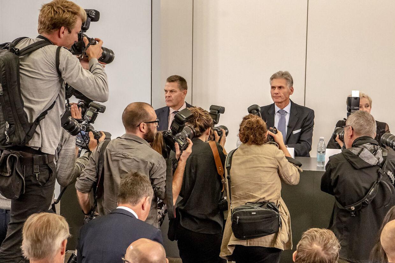 Danske Banks administrerende direktør, Thomas F. Borgen ved pressemødet onsdag.