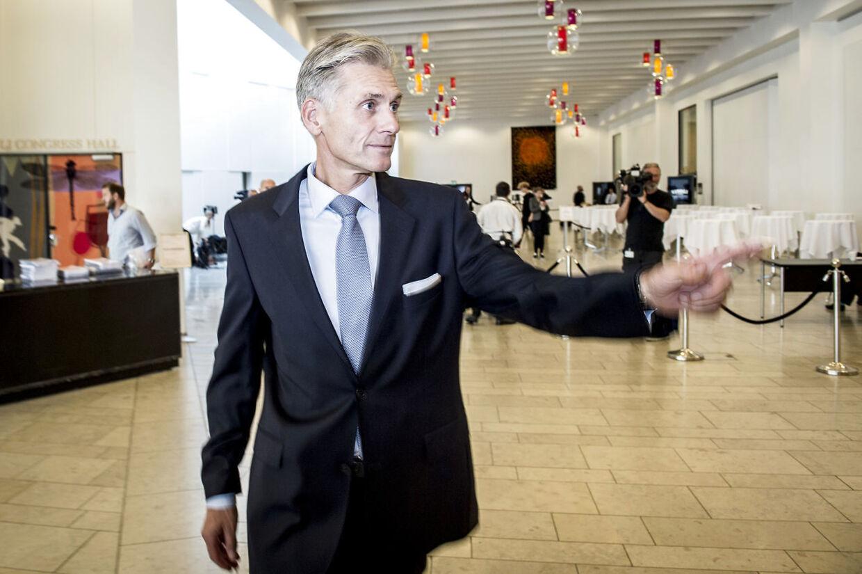Thomas F. Borgen, afgående direktør i Danske Bank efter pressemøde, hvor Danske Bank har offentliggjort sin egen undersøgelse af hvidvask i Tivoli Kongres Center i København.
