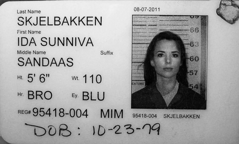 Ida Skjelbakkens id-kort i det amerikanske fængsel.