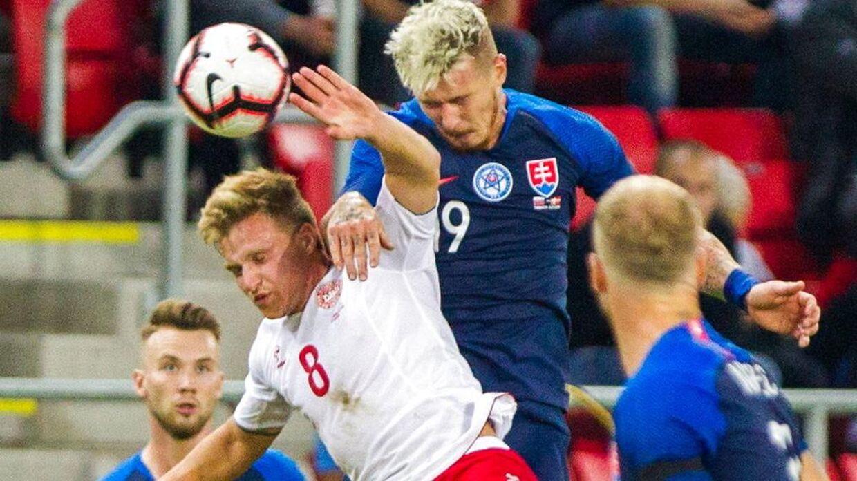Rasmus Johansson spillede for Danmark i landskampen mod Slovakiet.