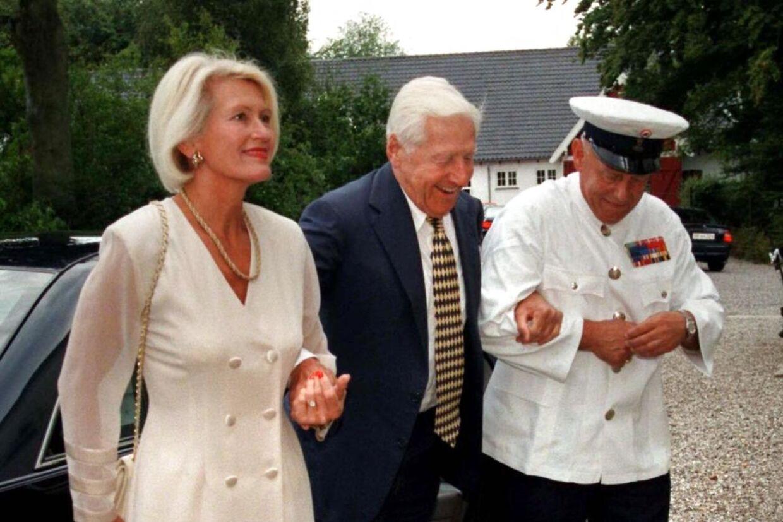 Herman Salling og fru Karin ved en reception på Marselisborg Slot.