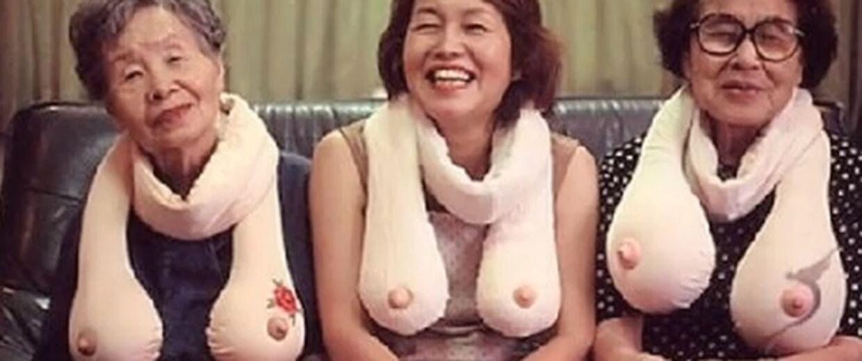 Bedstemor kan også blande sig i bryst-debatten med dette sigende halstørklæde.