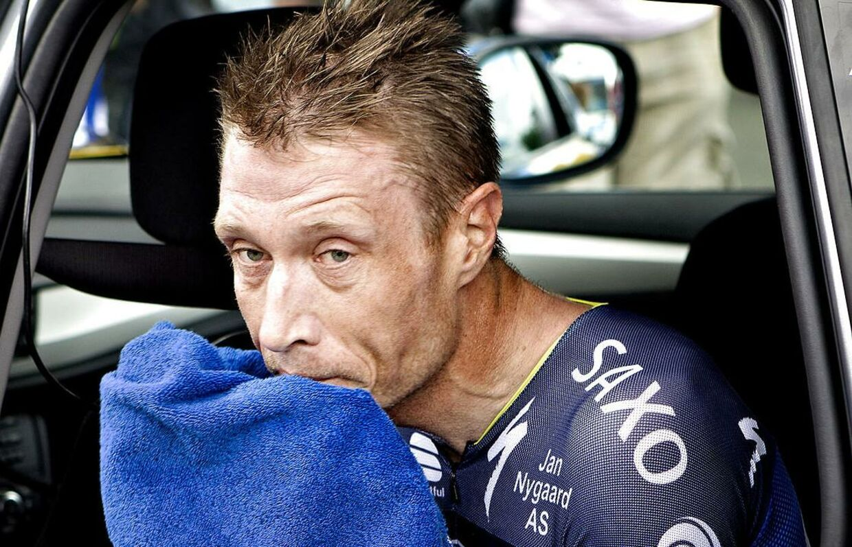 Nicki Sørensen har været fast inventar i Tour de France, som han har gennemført ti gange, hvilket er rekord for en dansk rytter. Her fra 2012 efter enkeltstart på 19. etape i Chartres.